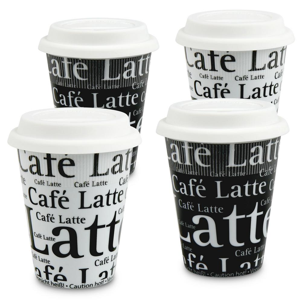Konitz 4-Piece Assorted Cafe Latte Writing on Black and White Porcelain