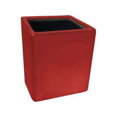 Cube 3 1/2 in. x 4 in. Red Ceramic Wall Planter