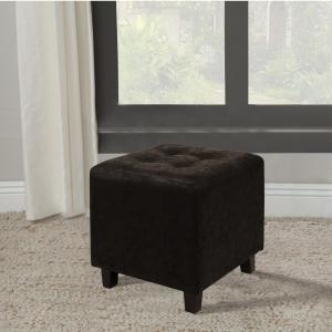 Faux Leather Black Ottoman Stool by