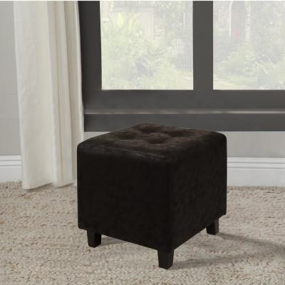 Faux Leather Black Ottoman Stool
