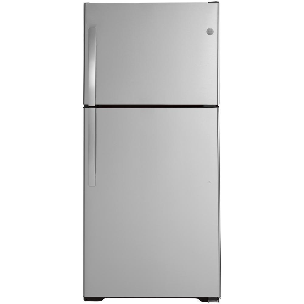 Ge 21 9 Cu Ft Top Freezer Refrigerator In Stainless Steel