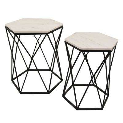 22.75 in. Black Table Marble Top (Set of 2)