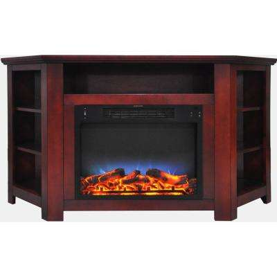 Tyler Park 56 in. Electric Corner Fireplace in Cherry with LED Multi-Color Display