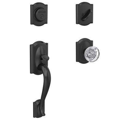 Camelot Matte Black Inactive Handleset with Hobson Glass Knob and Camelot Trim