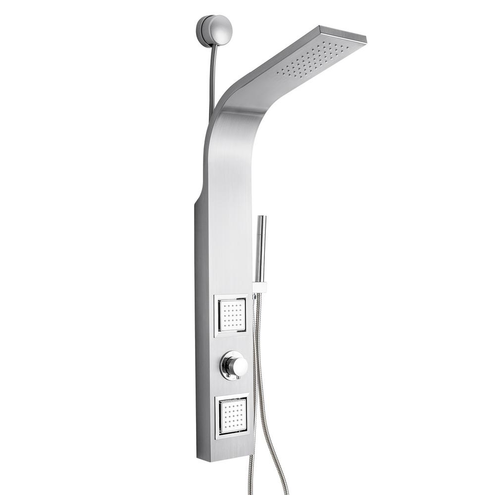 AKDY 39 in. 2-Jet Easy Connect Shower Panel System in Stainless Steel with Rainfall Shower Head and Handheld Shower Wand