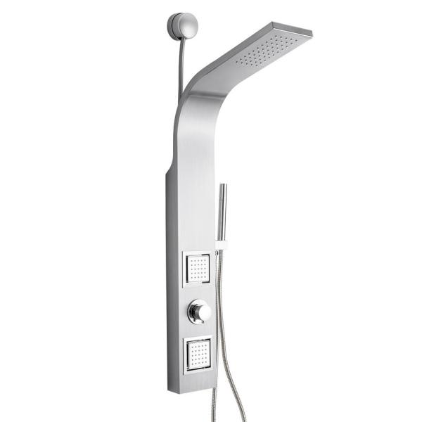 39 in. 2-Jet Easy Connect Shower Panel System in Stainless Steel with Rainfall Shower Head and Handheld Shower Wand