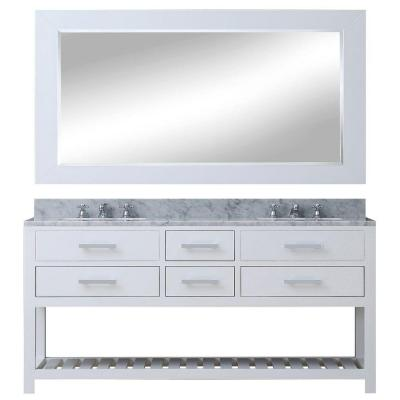 72 in. W x 21.5 in. D Vanity in White with Marble Vanity Top in Carrara White, Mirror and Chrome Faucets