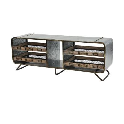 Gray and Brown Industrial Storage Bench