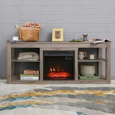 59 in. Freestanding Electric Fireplace TV Stand in Oak