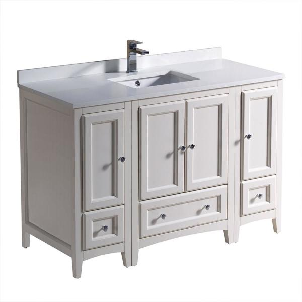 Oxford 48 in. Bath Vanity in Antique White with Quartz Stone Vanity Top in White with White Basin