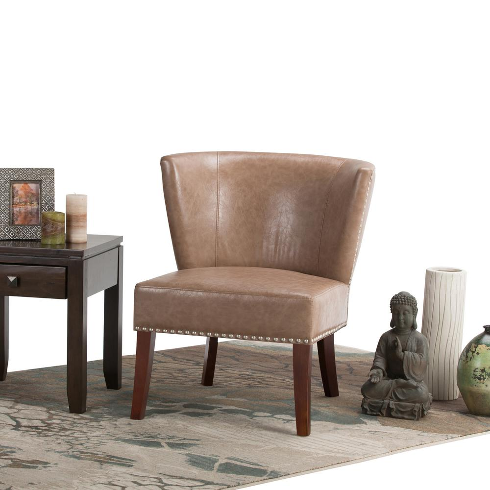 Simply Home Jamestown Dark Taupe Bonded Leather Accent Chair