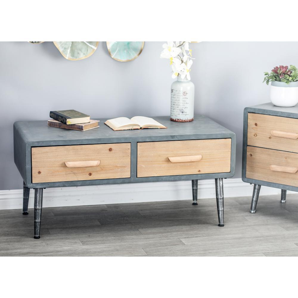 Gray Rectangular 2-Drawer Coffee Table