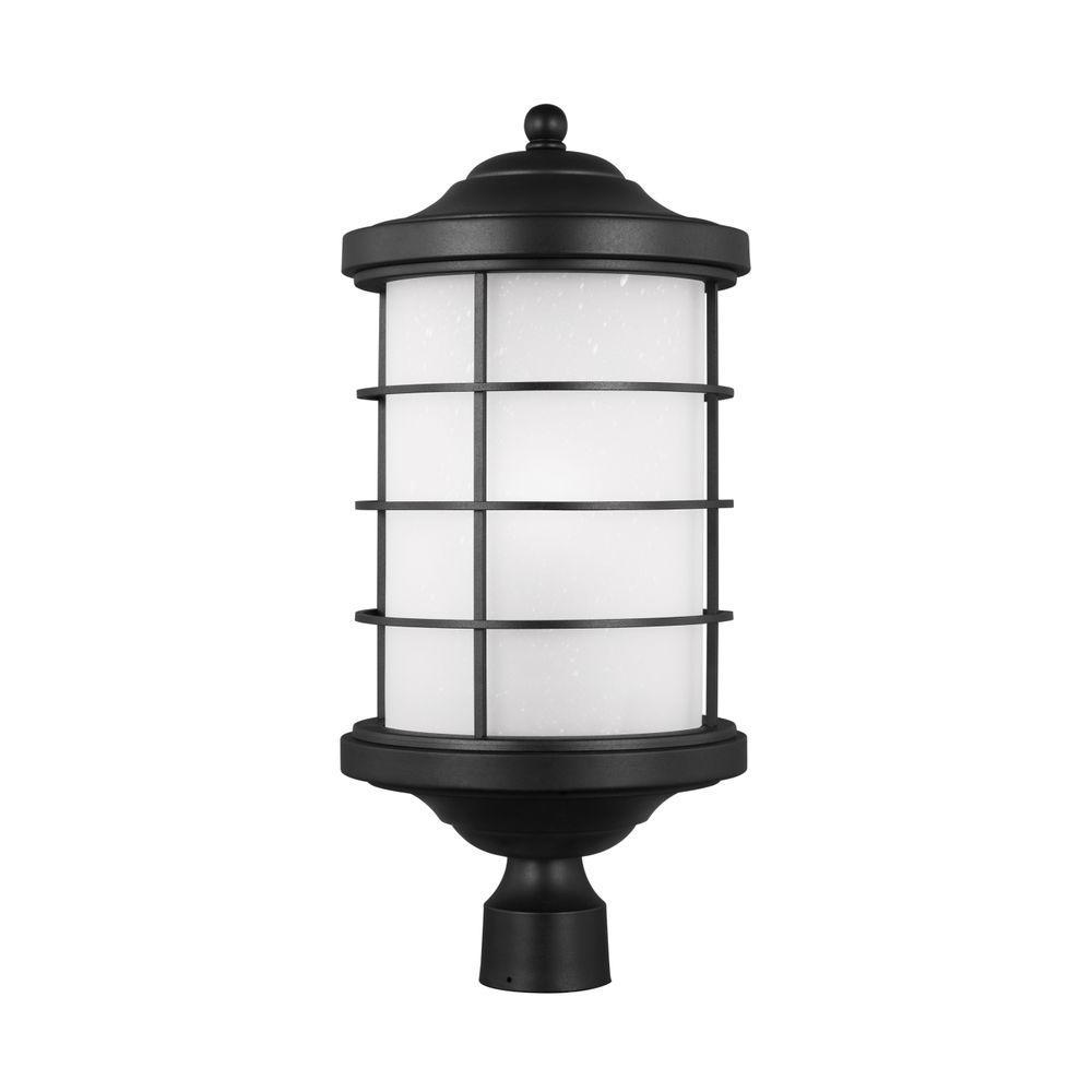 Sea gull lighting outdoor lighting lighting the home depot sauganash 1 light black post lantern aloadofball Images