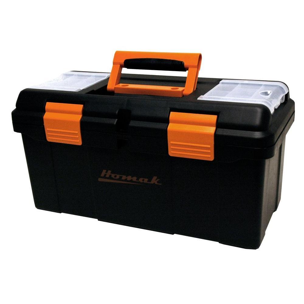 Homak 20 in. Plastic Tool Box, Black