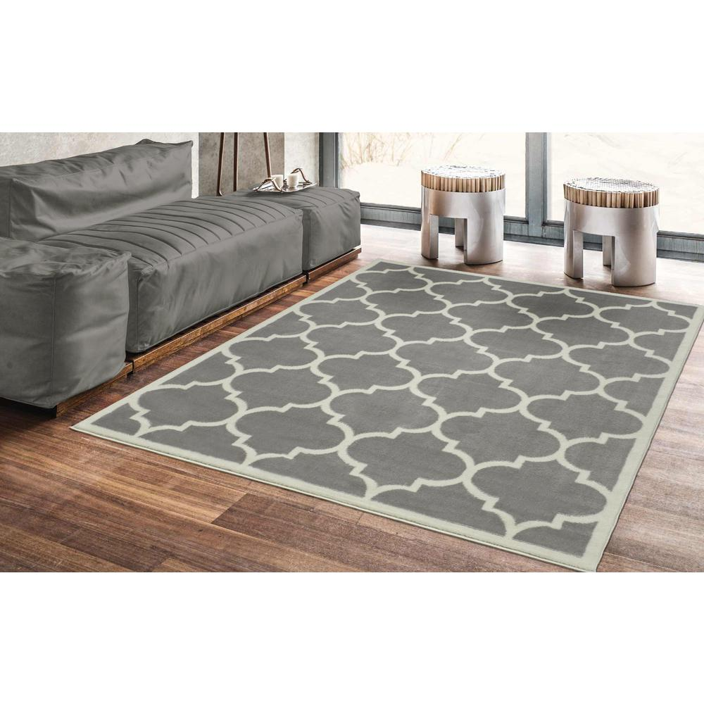 how big should area rug be in living room ottomanson contemporary moroccan trellis gray 5 ft x 7 ft 28302