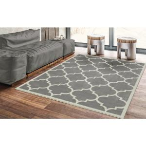Ottomanson Contemporary Moroccan Trellis Gray 5 Ft X 7 Ft