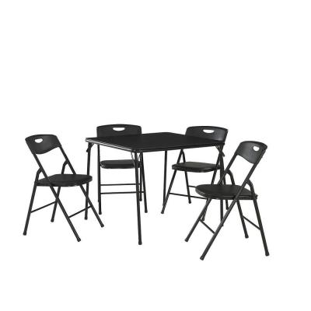 5-Piece Black Portable Folding Card Table Set