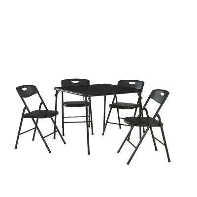 5-Piece Black Portable Folding Card Table Set