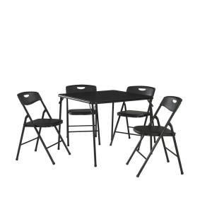 5 Piece Black Folding And Chair Set