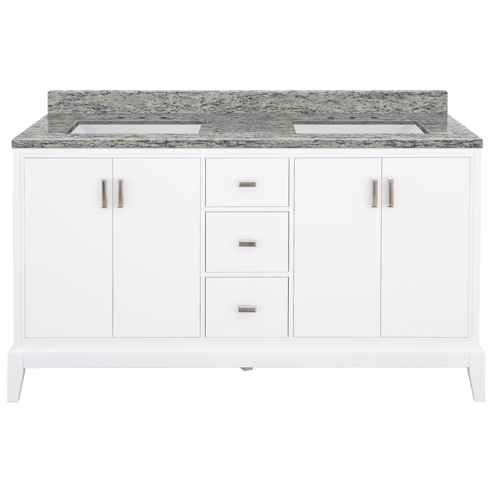 Home Decorators Collection Shaelyn 61 in. W x 22 in. D Bath Vanity in White with Granite Vanity Top in Santa Cecilia with White Sinks was $1849.0 now $1294.3 (30.0% off)