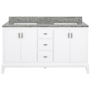 Shaelyn 61 in. W x 22 in. D Bath Vanity in White with Granite Vanity Top in Santa Cecilia with White Sinks