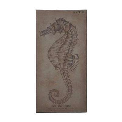 "72 in. x 36 in. ""The Sea Horse"" Framed Hand Painted Canvas Wall Art"