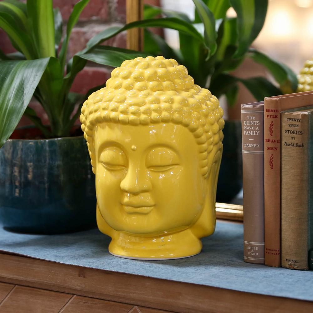 11 in. H Buddha Decorative Sculpture in Yellow Gloss Finish