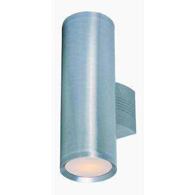 Lightray 5 in. W 2-Light Brushed Aluminum Outdoor Wall Lantern Sconce