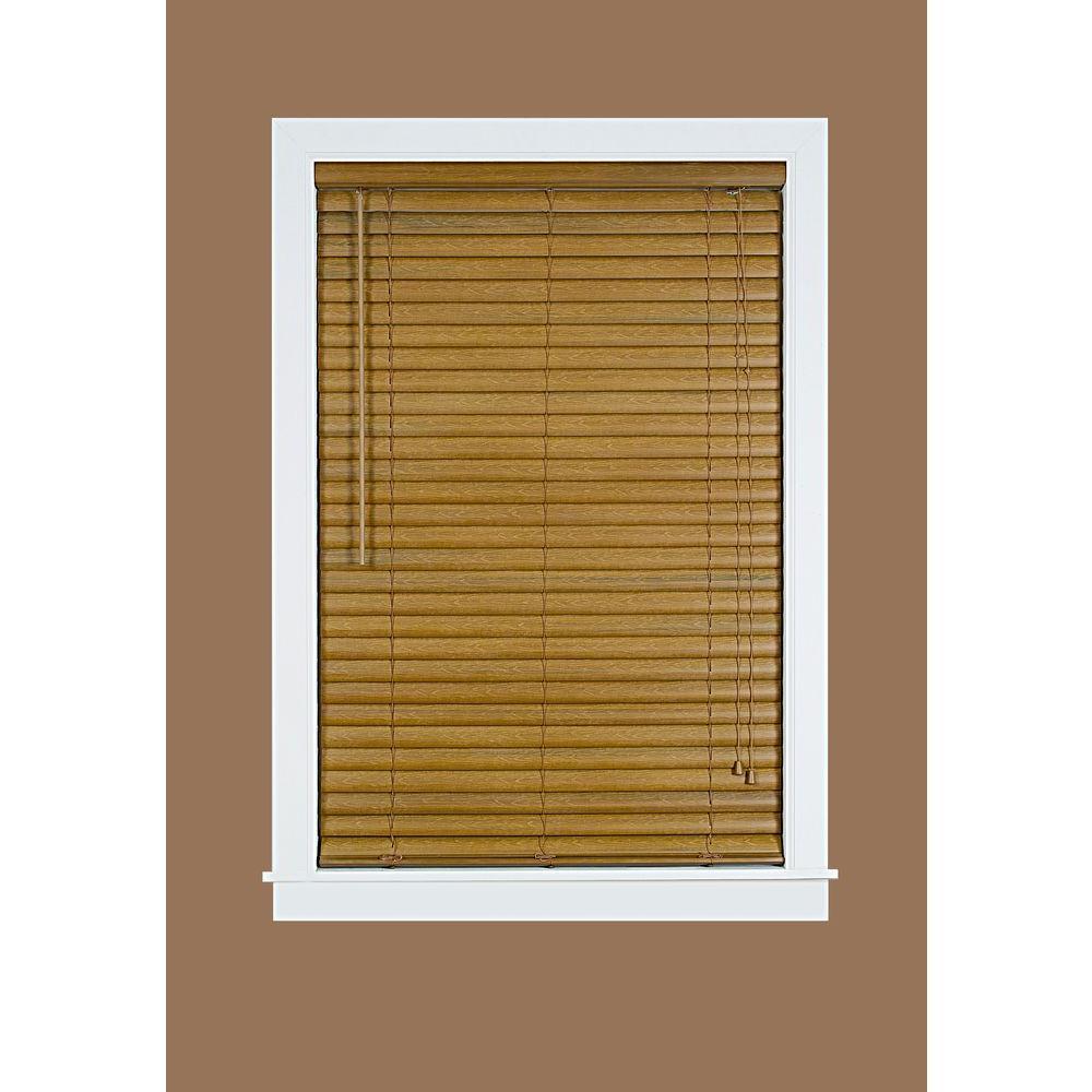 Luna woodgrain 2 in light filtering vinyl mini blind 35 for 2 way window blinds