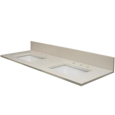 61 in. W x 22.5 in. D Quartz Double Basin Vanity Top in White Sands with Rect White Basin