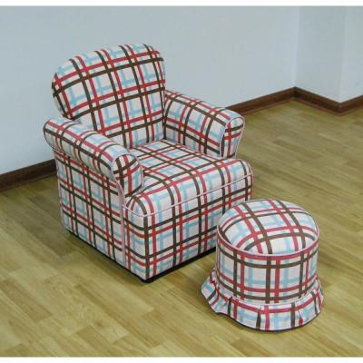 Rolled Plaid Upholstery Arm Chair With Round Ottoman