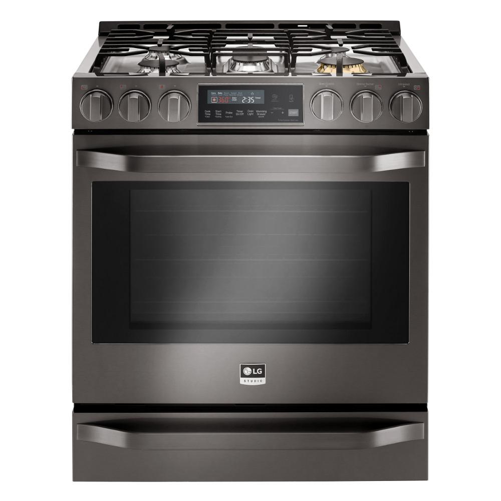 Gas Range With Warming Drawer In Black Stainless Steel Lssgbd The Home Depot