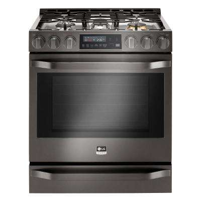 6.3 cu. ft. Slide-In Gas Range with ProBake Convection, Self Clean and EasyClean in Black Stainless Steel