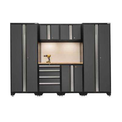 Bold 3 Series 77 in. H x 108 in. W x 18 in. D 24-Gauge Welded Steel Bamboo Worktop Cabinet Set in Gray (7-Piece)