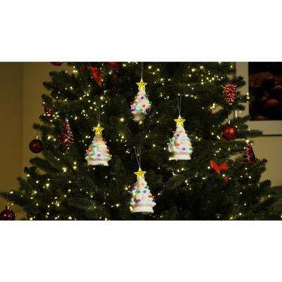 5.5 in. Nostalgic Trees in White (Set of 4)