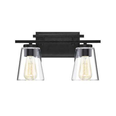 14.625 in. 2-Light Black Vanity Light with Clear Glass