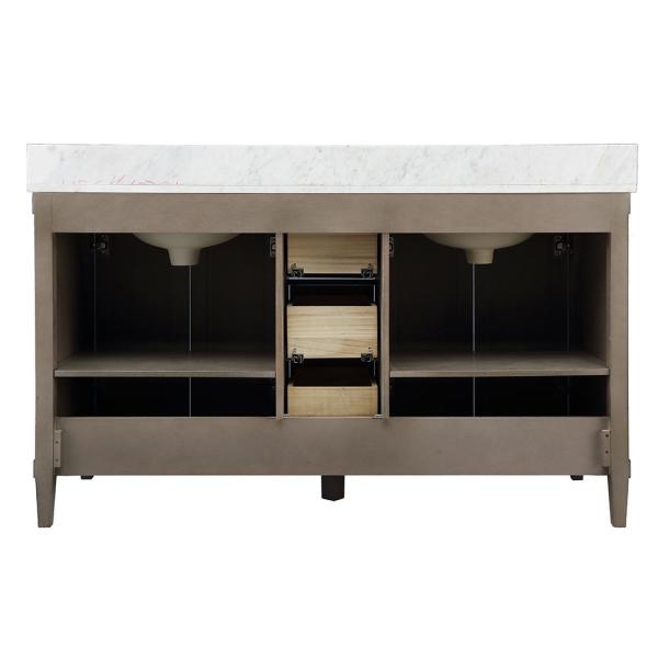 Home Decorators Collection - Rosecliff 61 in. W x 22 in. D Vanity in Distressed Grey with Carrara Marble Vanity Top in White with White Sink