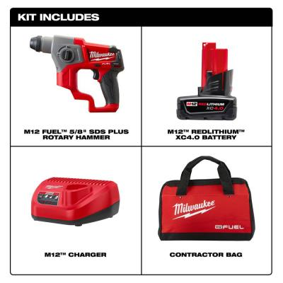 M12 FUEL 12-Volt Lithium-Ion Brushless Cordless 5/8 in. SDS-Plus Rotary Hammer Kit with One 4.0Ah Battery and Bag