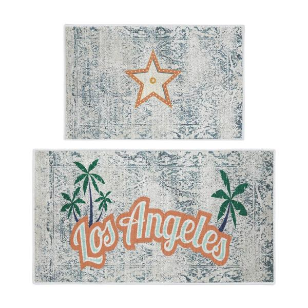 Sussexhome Los Angeles Design 44 In X 24 In And 31 5 In X 20 In Non Skid Washable Thin Kitchen Rug Mat Set Of 2 Ktc La Set The Home Depot