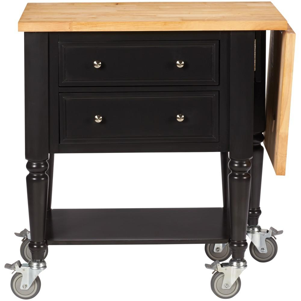Martha Living Blaine Silhouette Black Kitchen Cart With Drop Leaf