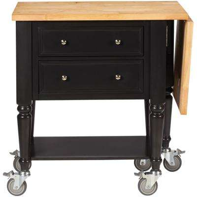 Blaine Silhouette Black Kitchen Cart With Drop Leaf