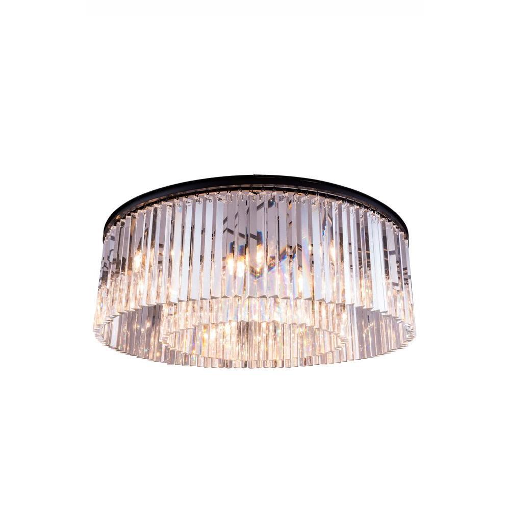 Sydney 10-Light Mocha Brown Flush Mount with Clear Crystal