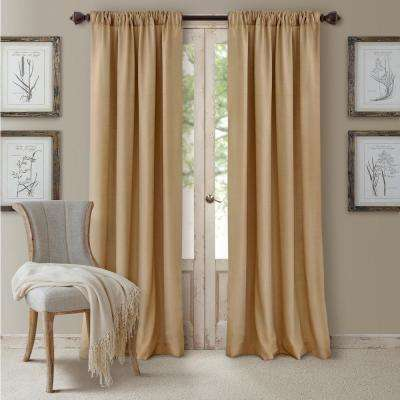 Blackout Cachet 52 in. W x 95 in. L Blackout Window Curtain Panel Caramel