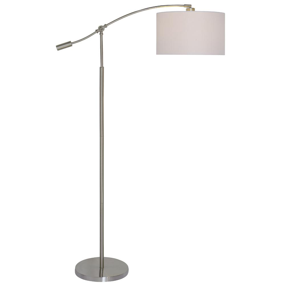 Brushed Steel Adjustable Height Arc Lamp with White Fabric Shade
