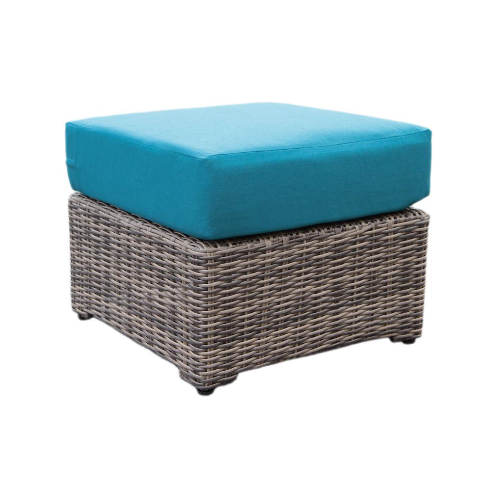 Cherry Hill Patio Ottoman with Spectrum Peacock Cushion