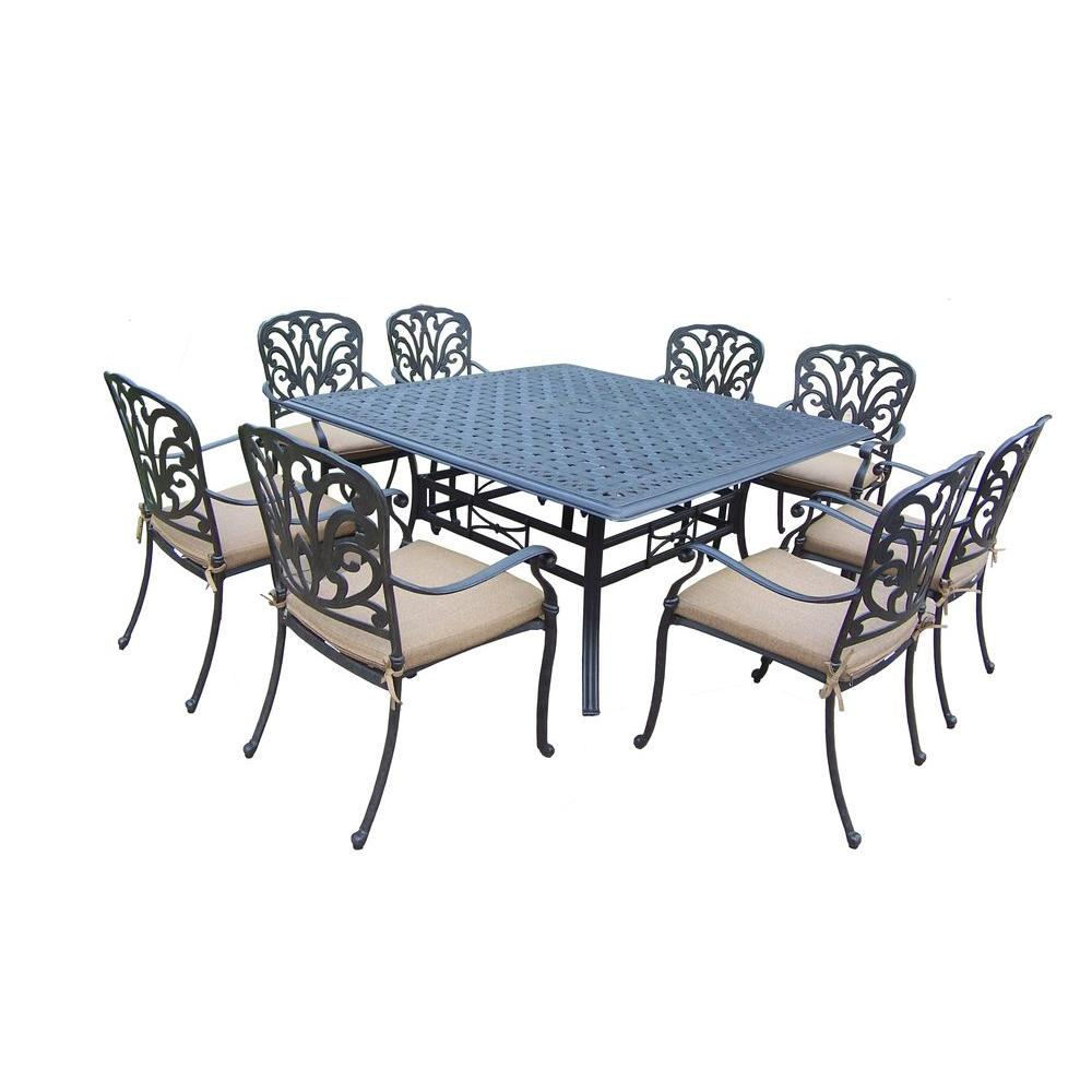 Oakland Living Cast Aluminum 9-Piece Square Table Patio Dining Set with SpunPoly Beige Cushions