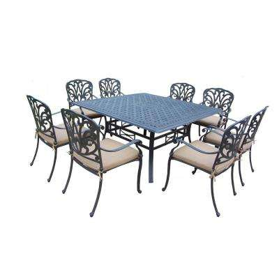 Cast Aluminum 9-Piece Square Table Patio Dining Set with SpunPoly Beige Cushions