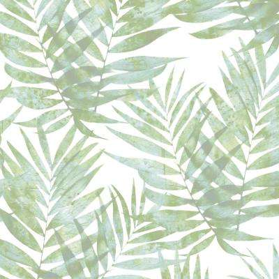 Turquoise and Spearmint Speckled Palm Wallpaper