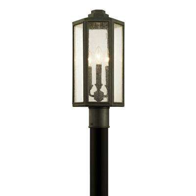 Hancock 3-Light Vintage Bronze 19.5 in. H Outdoor Post Light with Clear Seeded Glass