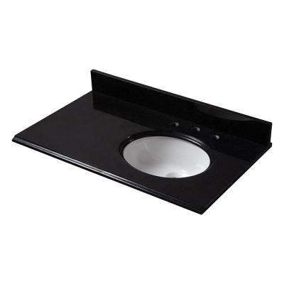 37 in. W Granite Vanity Top in Black with Offset Right Bowl and 8 in. Faucet Spread
